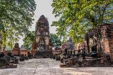Wat Mahathat temple ruins Ayutthaya bangkok Thailand