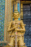 golden yaksha demon portrait Phra Mondop grand palace bangkok Th