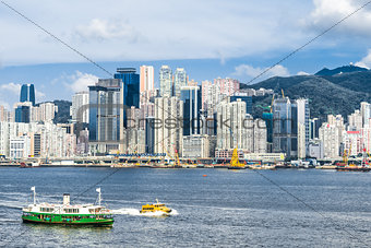 Central skyline waterfront Causeway Bay Hong Kong
