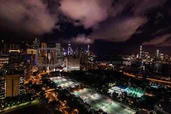 cityscape night Victoria Park Causeway Bay Hong Kong
