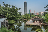 pagoda temple pond Kowloon Walled City Park Hong Kong