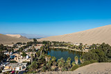 Huacachina lagoon in the peruvian coast at Ica Peru