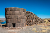 Silustani tombs in the peruvian Andes at Puno Peru