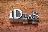 ideas word in metal type