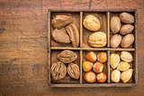 nuts in rustic wooden box