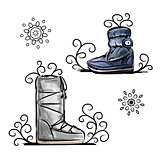 Winter shoes, sketch for your design