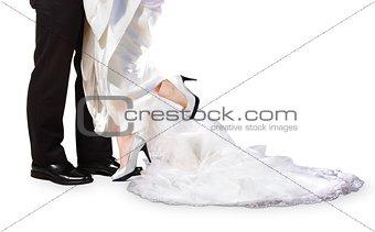 Bride and Groom Feet on Wedding Day