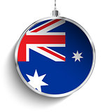 Merry Christmas Silver Ball with Flag Australia