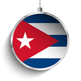 Merry Christmas Silver Ball with Flag Cuba