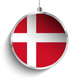 Merry Christmas Silver Ball with Flag Denmark