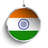 Merry Christmas Silver Ball with Flag India