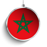 Merry Christmas Silver Ball with Flag Morocco
