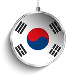 Merry Christmas Silver Ball with Flag South Korea