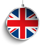 Merry Christmas Silver Ball with Flag United Kingdom UK