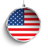 Merry Christmas Silver Ball with Flag USA