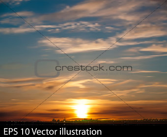 abstract nature background with sunrise and silhouette of city