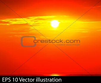 abstract nature clouds background with red sunrise