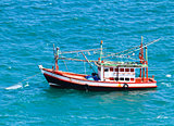 Wooden fishing boat on sea