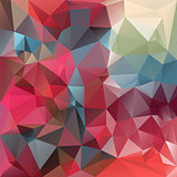 vector polygonal background - triangular design in red and blue colors - strawberry