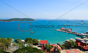 Aerial view of Srichang Island ,Chonburi ,Thailand.
