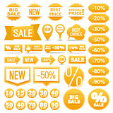Yellow Sale Banners Ribbons Labels