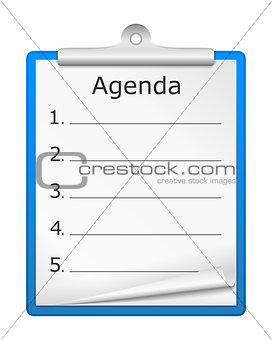 Agenda on Clipboard