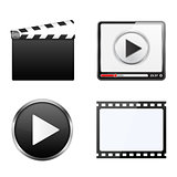 Clapper Board, Video Player, Play Button and Film Strip