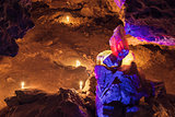 Big Red and yellow crysta in cave. Mlynky Cave, Ukraine