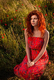 Red-haired girl sitting in the poppies meadow at sunset