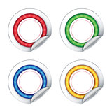 Colorful stickers on white background.