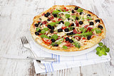 Rustic pizza background.