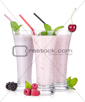 Blackberry, raspberry and cherry milk smoothie with mint