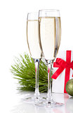Champagne, gift letter and christmas decor