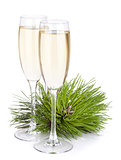 Champagne glasses and firtree