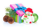 Christmas gift box, decor and snowman toy