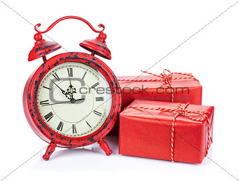 Christmas clock and two gift boxes