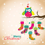 Template Christmas greeting card, vector