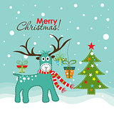 Christmas greeting card, vector