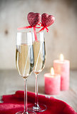 Glasses of champagne in candlelit on St Valentine's day