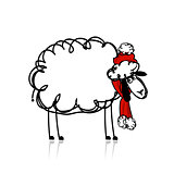 Sheep santa, symbol of new year 2015