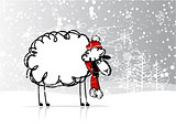 Sheep santa in forest, symbol of new year 2015