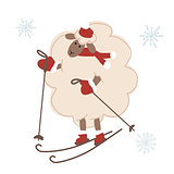 Sheep santa skiing, symbol of new year 2015
