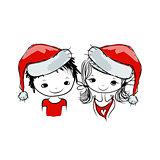 Santa girl and boy, sketch for your design