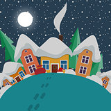 New Year and Christmas landscape at night in style flat