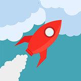 Rocket in Flat Style