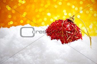 christmas ball on the snow