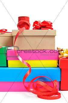 boxes and ribbons to prepare gifts