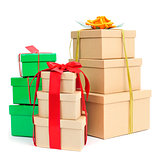 gift boxes of different colors and sizes