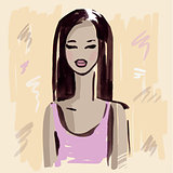 Fashion girl.  Hand drawn Portrait.