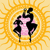 Mandala. Indian dancers silhouettes.